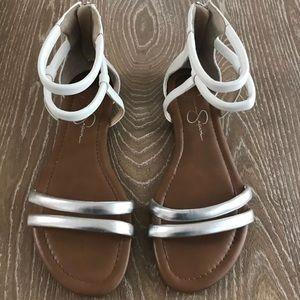 Jessica Simpson zip back flat sandals Size 5.5